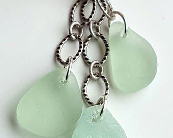 Sea Glass Necklace  Aqua Sea Glass Necklace Sea Glass Jewelry Blue Sea Glass Necklace Aqua Beach Glass N-500