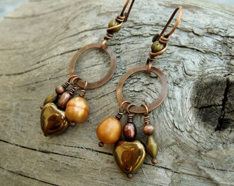 Antiqued copper dangles with freshwater pearls and brass dangle earrings