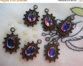 ON SALE 15% off Vibrant Volcano Tiny Spiky Drops 14x9mm One Loop 6 Pcs