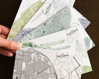 TACOMA POSTCARDS featuring my Street Map and Watercolor Maps of Tacoma Washington City (Postcard Pack) Gift Pacific Northwest Puget Sound