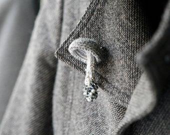 Crochet mushroom pin - woodland jewelry - crochet brooch