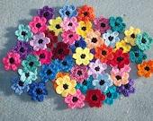 48 assorted cotton crochet applique flowers  --  2576