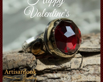 Valentines heart ring, Garnet Gemstone Ring, Silver gold Ring, Statement Ring, bohemian Ring, Hearts Ring - The Queen of hearts R2139