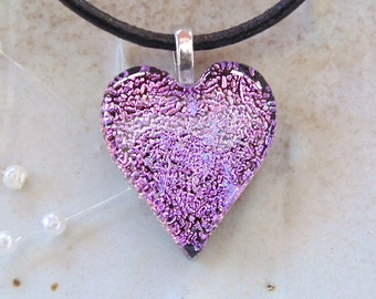 Petite, Dichroic Heart Pendant, Glass Jewelry, Pink, Lavender, Necklace Included, A8