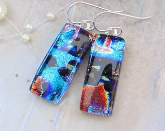 Green Earrings, Red, Black Dichroic Glass Earrings, Dangle, Sterling Silver, One of a Kind, A11
