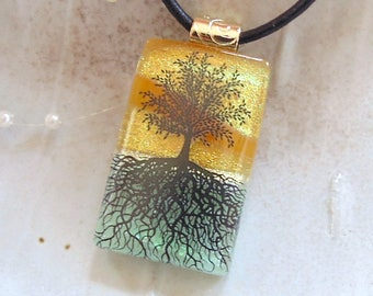 Tree of Life Necklace, Dichroic Fused Glass Pendant, Tree of Life, Glass Jewelry, Amber, Green, Gold, Necklace Included, A1