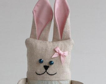 Free shipping-Rabbit doll for your princess-handmade linen toy, ready to ship