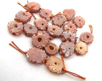 Sparkly Druzy Slice Agate Tab Stone  Rust Peach Coated Rustic Crusty Rough Organic Earthy Bead Pair