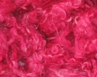 Kid Mohair Locks, 4 ounces.  Hot Pink
