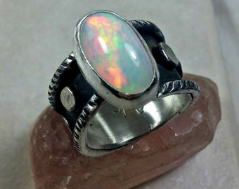 Opal statement Ring, silver and 8.5 carat  Ethiopian opal ring,  Chunky sterling and Welo opal ring, birthstone ring