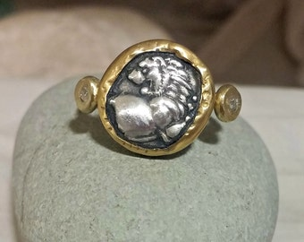 Gold Coin Ring, Statement Ring, Ancient Coin Jewelry, solid yellow gold ring,  Lion coin ring