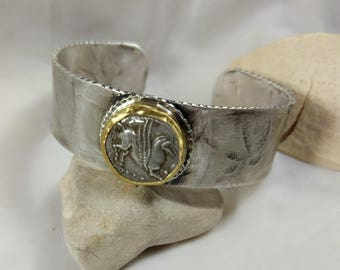 Cuff Bracelet, silver, 22 kt gold and ancient Greek coin sterling  cuff, Pegasus Bracelet,  ancient coin jewelry, authentic coin
