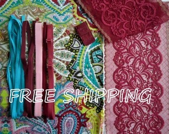 FREE Ship DIY Fabric + Notions Mulicolor Paisley & Red Gold for 1 BRA + Panty by Merckwaerdigh