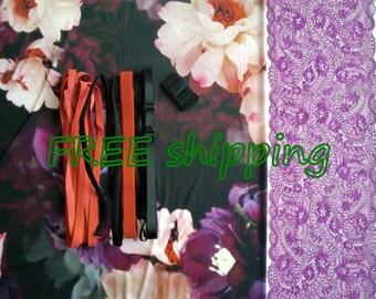FREE Ship DIY Fabric + Notions Large Flowers & Purple for 1 BRA + Panty by Merckwaerdigh