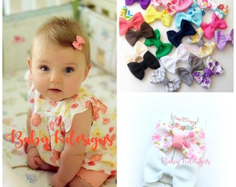 "Baby Bow. Newborn Bow. Baby Girl Bow. Newborn Hair Clip. Handmade 2"" Bow. Girl Hair Clip. Baby Bow Clip. Girl Simple U Pick Baby Shower Gift"