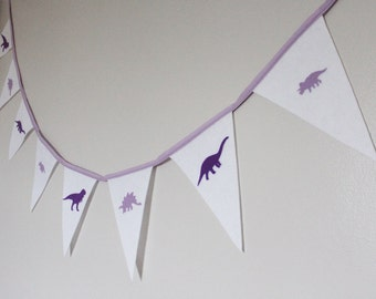 Dinosaur Bunting -  Dinosaur for Girls - Girls Bunting - Purple Dinosaur - Party banner - Ready to ship