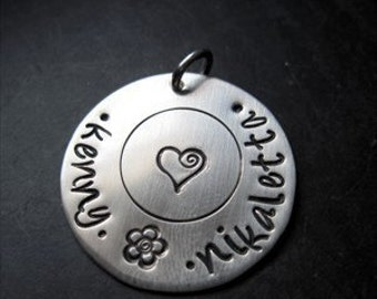 Personalized Silver Charm or Pendant - Gift for her - Gift for mom - Jewelry - Hand Stamped Charm - Personalized Pendant - Custom Jewelry