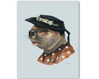 Lady Beaver art print 8x10