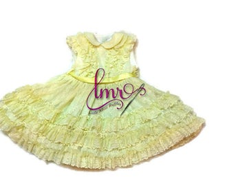 Dress Yellow Lace Ruffle Child Size 5