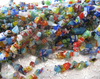 Millefiori Glass Chip Beads  assorted size chips 2 -14 inch strands