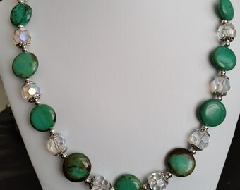 Turquoise and crystal necklace and earrings set