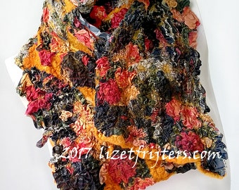 Multicoloured Textured Nuno Felted Scarf Winter Scarf Eco Fashion  Casual Wear