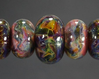 Lampwork Glass Boro Bead Set of 7 With Focal Bead Handmade Juba Glass Pink Crimson Red Sparkle 14a