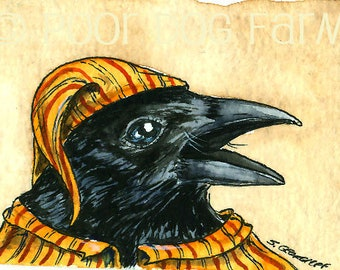 A Crow in Loud Pajamas - Original Art Card (ACEO) Mini Painting