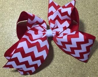 Hair Bow Red White Chevron Cheer Custom Clip