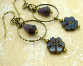 Boho Earrings with Purple Glass Drop and Flower and Brass Hoops