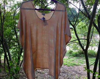 Hand Dyed Rayon Peach Poncho in Madder and Tannin