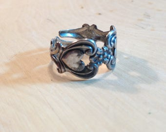 Vintage double heart sterling silver spoon ring