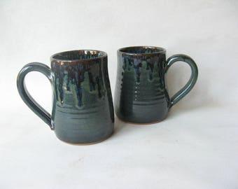 Large Pottery Mugs Set of 2, Coffee Mugs made in Stoneware, Ceramic Coffee Mugs Set of 2, Large Stoneware Mugs