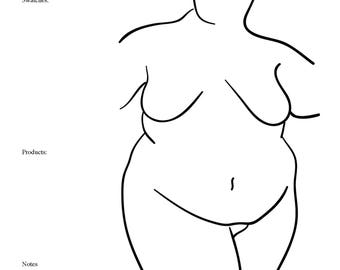 13 Curvy Body Paint Charts- Body Templates for Body Painters
