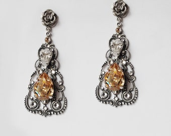 Bridal Earrings Wedding Costume Jewelry Swarovski Earrings Aged Silver Formal Crystal Clear Champagne Romantic Vintage Style Oxidized Silver