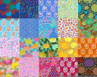 28 Different Kaffe Fassett Fabric Charm Square Pack - Prewashed, Rotary cut