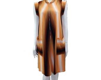 Vintage Orange and Brown Dress// Zip Front Dress// Mod Dress// 130