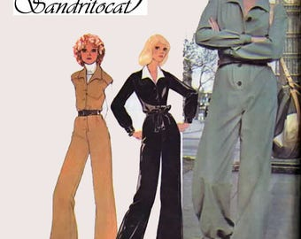 1970s Military Jumpsuit McCalls 4753 Vintage 70s Sewing Pattern Size 10 Bust 32.5
