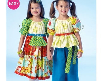 OOP Girls Peasant Dress or blouse and Pants McCalls 7040  Childrens EASY Sewing Pattern Size 6-8UNCUT