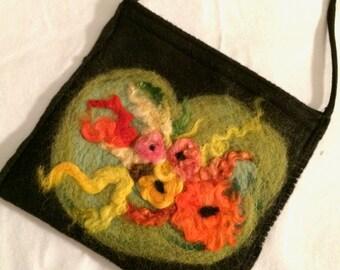 Black Felt Crossbody Bag with Needle Felted Flowers, Shoulder Bag, Hand Felted, Teen Bag, Cell Bag, Felted Wool