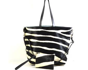 Nicole - Handmade Zebra Print Hair On Hide Leather Tote Bag With Detachable Clutch SS17