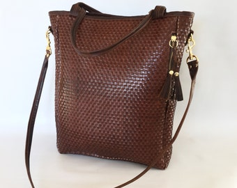 Large Camino leather tote bag in brown basket weave