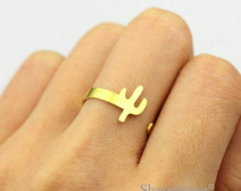 2pcs Raw Brass cactus Ring, Simple Ring, Adjustable succulent plants Brass Rings - TR058