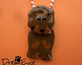 Wire Haired Dachshund Pendant. Artist Hand-made Doxie Dog Art Jewelry Necklace. H2