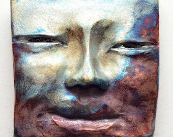 Peaceful Buddha Face Tile in Raku Ceramics: Handmade One of a Kind Wall Hanging 5 X 5