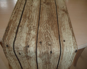 "Wood Table Runner 72"" Wooden Planks 6ft Urban Art 180cm Contemporary Salvage Maritime Log Cabin Lodge Decor"