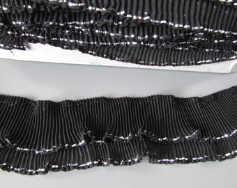 Black Chiffon Ruffle Double Pleated Trim with silver edging