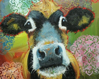 Cow painting 1200 24x30 inch animal original oil painting by Roz