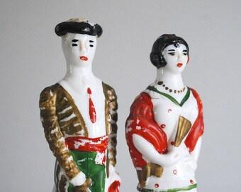 Vintage Liquor Bottle, Matador Bull Fighter, Spanish Lady, Milk Glass Bottle, Montana S.A. Granoller, Anis Anise Barware, Man Woman Figurine