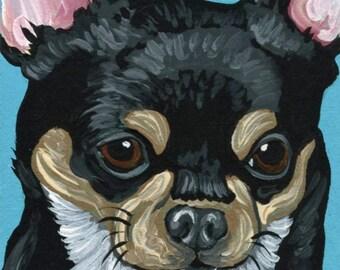 ACEO ATC Original Gouache Painting Black and Tan Chihuahua Dog Pet Art-Carla Smale